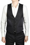 Black patterned vest wedding suit bridegroom isolated on white background. Stock Photos