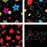 Black Patterns set. Black decorative seamless patterns set Royalty Free Stock Photo