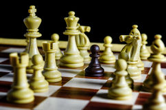 Black pawn against all white pieces royalty free stock image