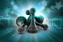 Black pawn  on colour Royalty Free Stock Photo
