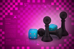 Black pawn and cubes Stock Image