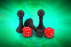 Black pawn and cubes Stock Photo