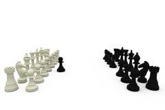 Black pawn defecting to white side Stock Photos