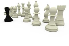 Black pawn facing white opposition Stock Images