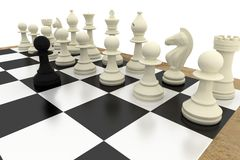 Black pawn facing white pieces Royalty Free Stock Images