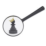 Black pawn with gold crown Stock Photos