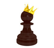 Black pawn with a golden crown. On a white background Royalty Free Stock Image
