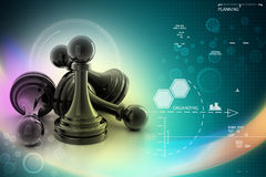 Black pawn isolated on color Stock Images