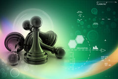 Black pawn isolated on color Stock Photos