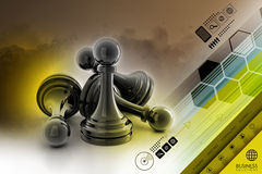 Black pawn isolated Royalty Free Stock Images