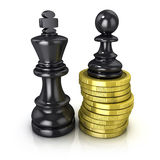 Black pawn standing on coins and black king, placed in the same plane Stock Photos