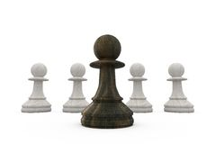 Black pawn standing in front of white pawns Stock Photos
