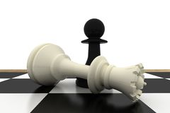Black pawn standing over fallen white queen Royalty Free Stock Photo
