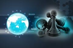 Black pawn  on white colour Stock Image