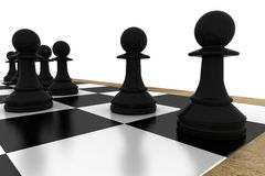Black pawns on chess board. On white background Stock Photography