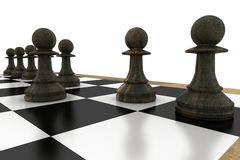 Black pawns on chess board Royalty Free Stock Images