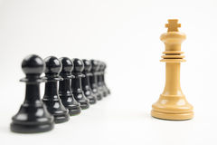 Black pawns in front of white king Stock Photos