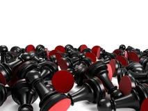 Black pawns. Black pawn chess, 3d render Royalty Free Stock Image