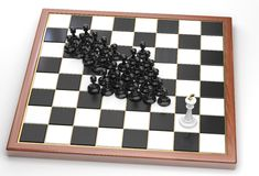 Black pawns points on white king Stock Images