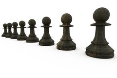 Black pawns in a row Stock Photo