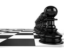 Black pawns stand in a row on a chessboard. 3d render Royalty Free Stock Image