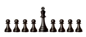 Black pawns team with it´s king Royalty Free Stock Photo
