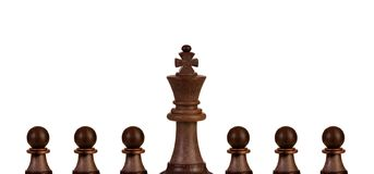 Black pawns team with it´s king royalty free stock photos