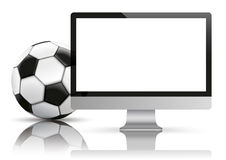 Black PC Monitor Football Mockup Mirror. Personal computer monitor with football on the white background vector illustration