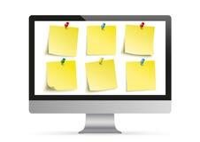 Black PC Monitor Mockup Yellow Stickers Stock Image