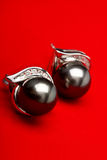 Black Pearl. Beautiful black pearl jewelry, in the white background royalty free stock photos