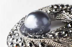 Black Pearl Brooch. Part, large stock photo