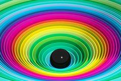 Black pearl in colorful circles Royalty Free Stock Photography