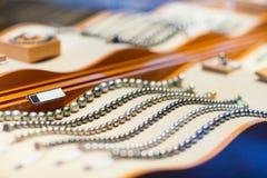 Black pearl jewelery. Displayed in a shop window stock image