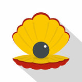Black pearl in a sea shell icon, flat style Royalty Free Stock Photography