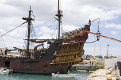 The Black Pearl Ship in Hawaii. Close-up of the stern of the Black Pearl, ship and prop from the Disney movie, Pirates of the Caribbean 4: On Stranger Tides Royalty Free Stock Photo
