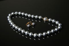 Black pearls necklace Stock Images