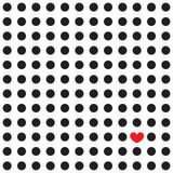 Black peas and red heart on a white background. Seamless pattern with black polka dots and one red heart among them Stock Photos