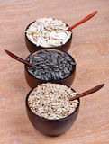 Black and peeled sunflower seeds Stock Image