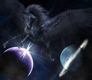 Black Pegasus. 3d render of black Pegasus Royalty Free Stock Photos