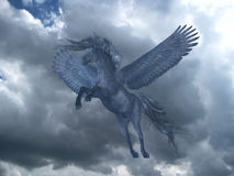Black Pegasus in Blue Sky Royalty Free Stock Images