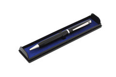 Black pen in case. Isolated object Stock Photography