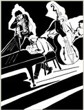 Black pen drawing of a quartet of jazz musicians royalty free illustration