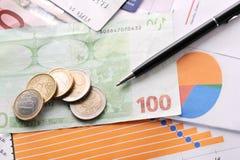 Black pen and money stock photos