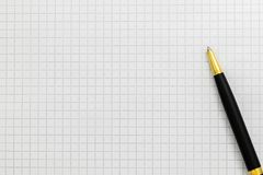 Black pen on open notebook close-up, copy space. royalty free stock image