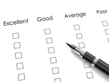 Black pen over rating survey Stock Images