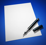 Black pen on paper - blue ground 01. Black pen on white paper and blue background royalty free illustration