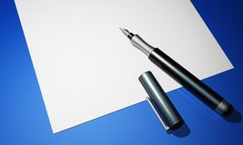 Black pen on paper - blue ground 02. Black pen on white paper and blue background royalty free illustration