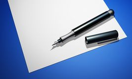 Black pen on paper - blue ground 04. Black pen on white paper and blue background stock illustration