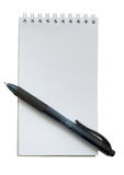 Black pen and small white notebook on white Royalty Free Stock Images