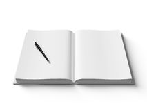 Black pen on white open book, on white background. Black pen on white open book, on white background, concept stock illustration